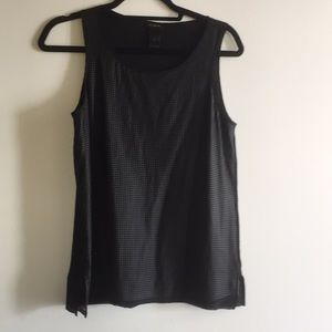 Edgy faux leather perforated tank Ann Taylor small